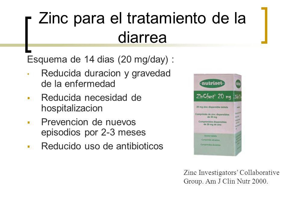Zinc para el tratamiento de la diarrea