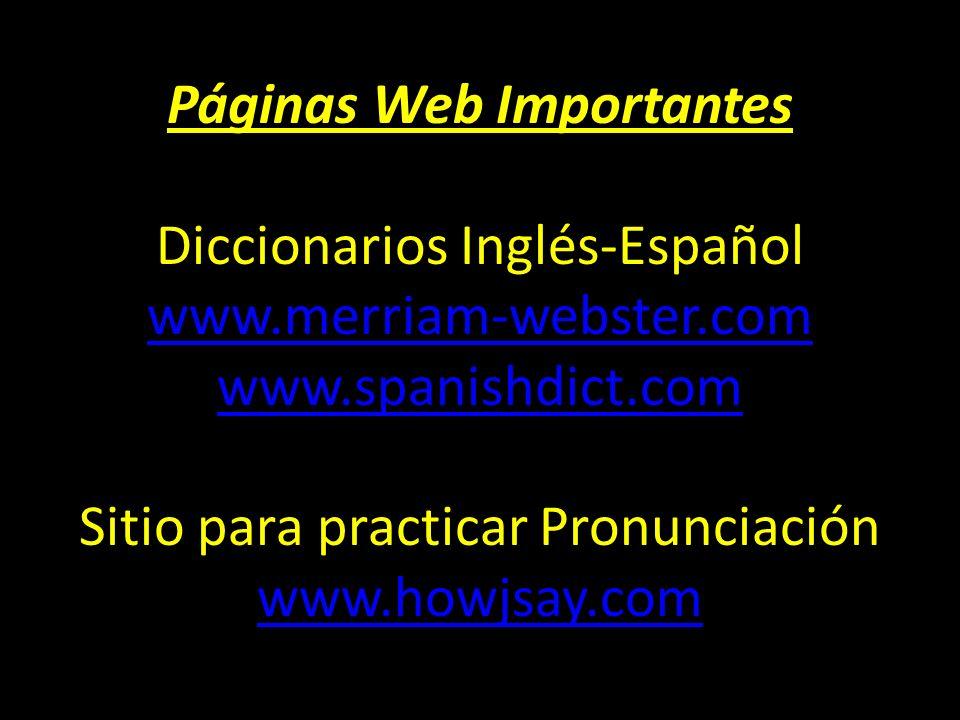 Páginas Web Importantes Diccionarios Inglés-Español www
