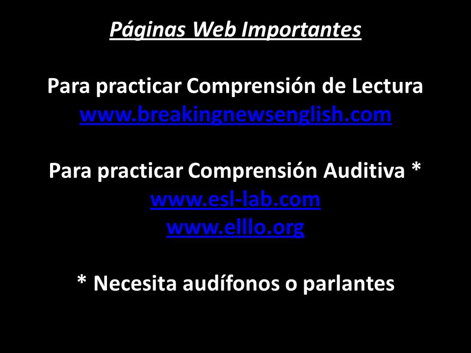 Páginas Web Importantes Para practicar Comprensión de Lectura www