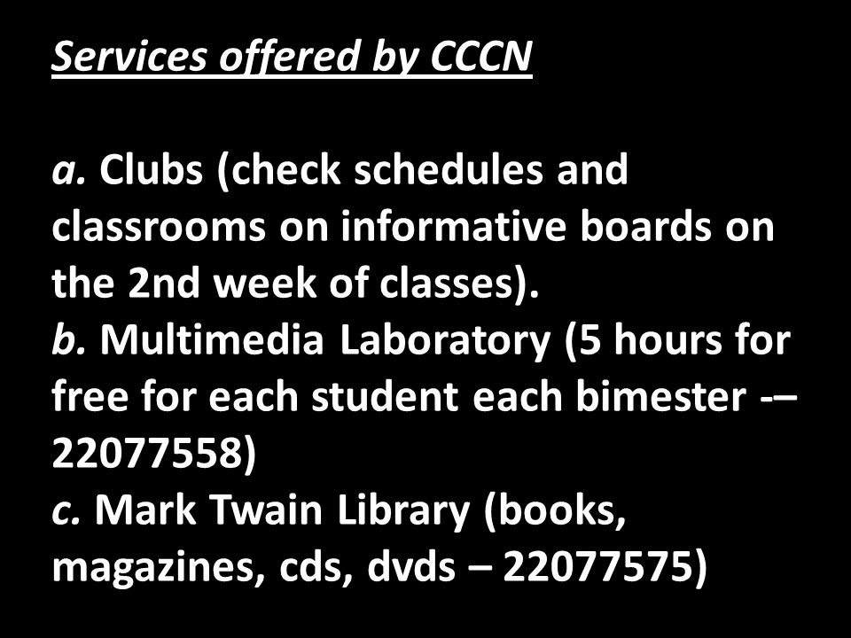 Services offered by CCCN a
