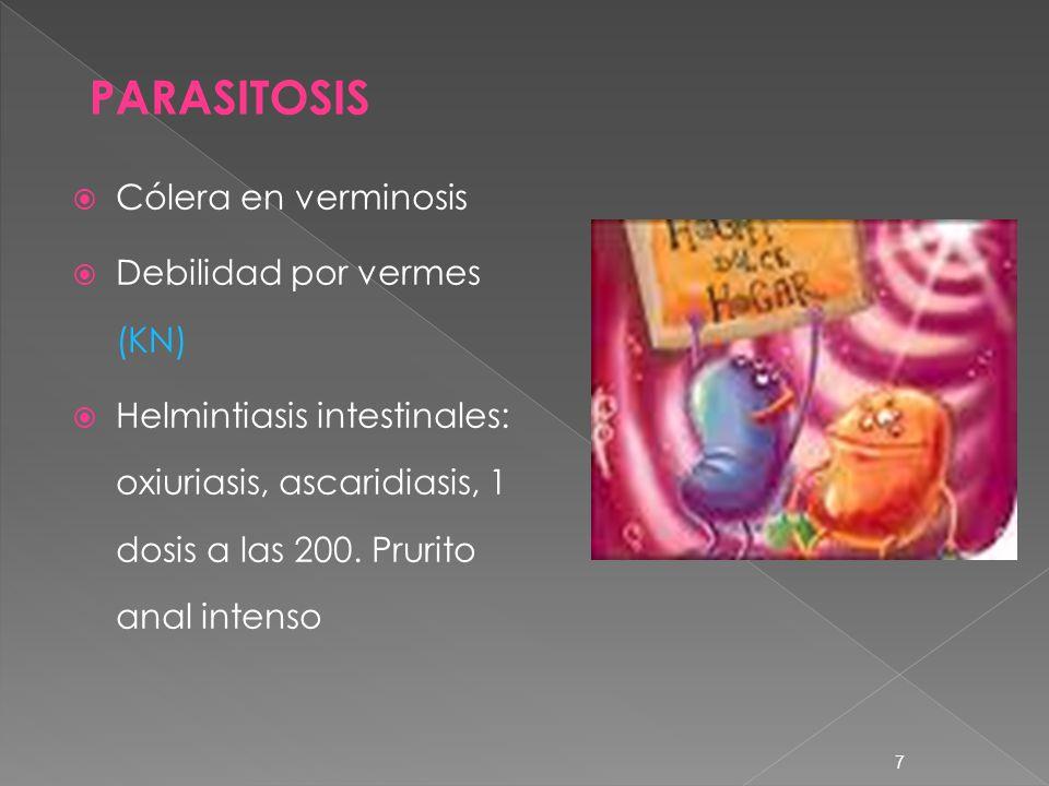 PARASITOSIS Cólera en verminosis Debilidad por vermes (KN)