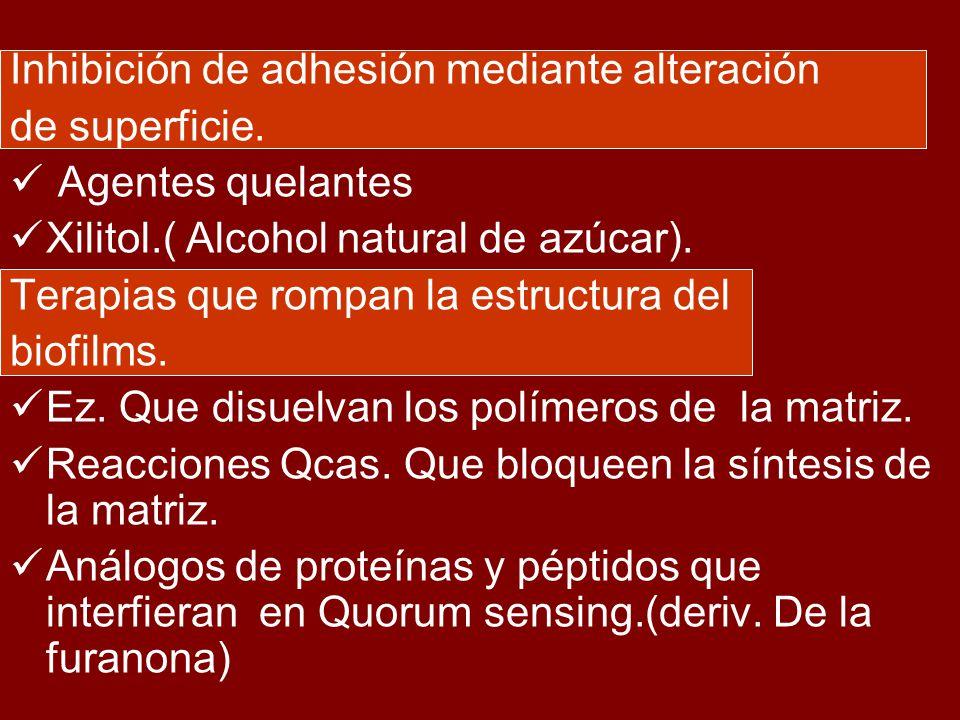 Inhibición de adhesión mediante alteración