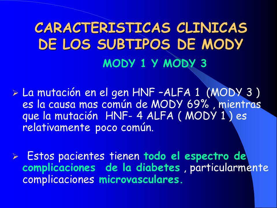 CARACTERISTICAS CLINICAS DE LOS SUBTIPOS DE MODY