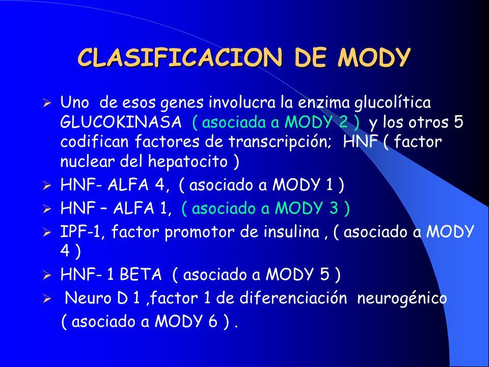 CLASIFICACION DE MODY