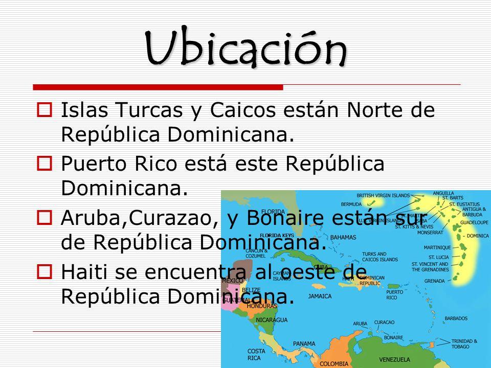 Ubicación Islas Turcas y Caicos están Norte de República Dominicana.