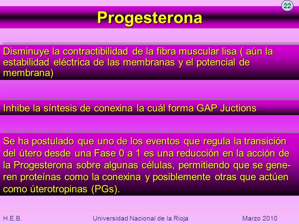 22 Progesterona. Disminuye la contractibilidad de la fibra muscular lisa ( aún la estabilidad eléctrica de las membranas y el potencial de membrana)