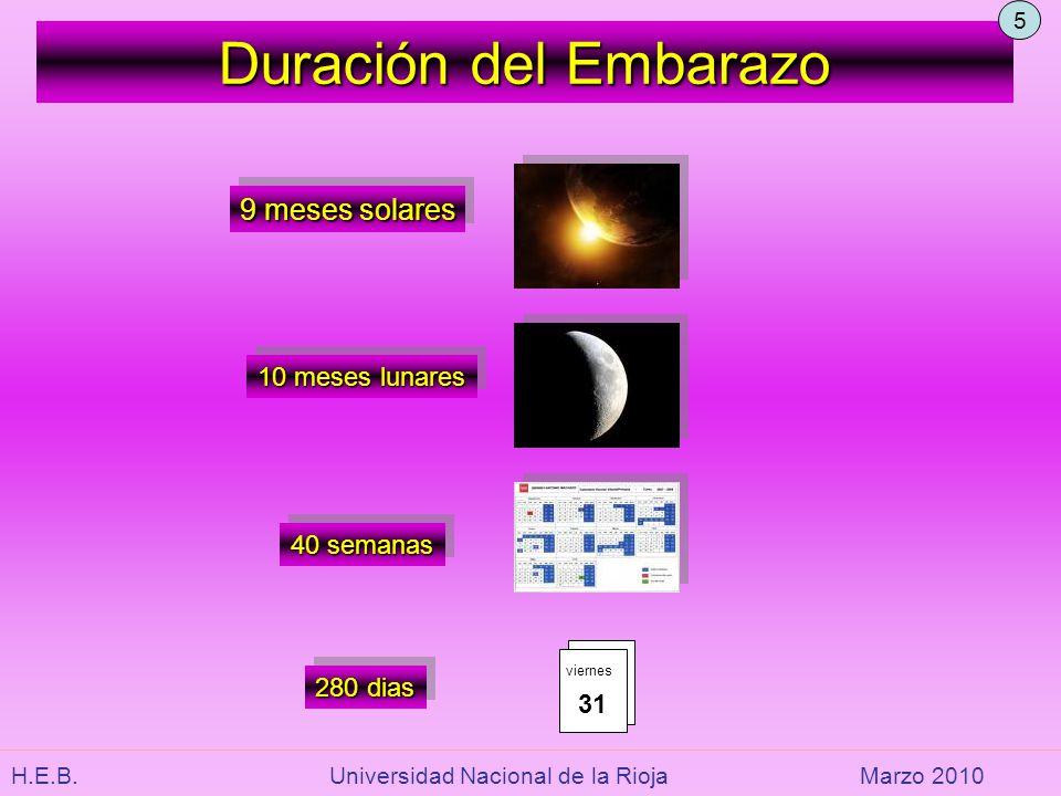 Duración del Embarazo 9 meses solares 10 meses lunares 40 semanas