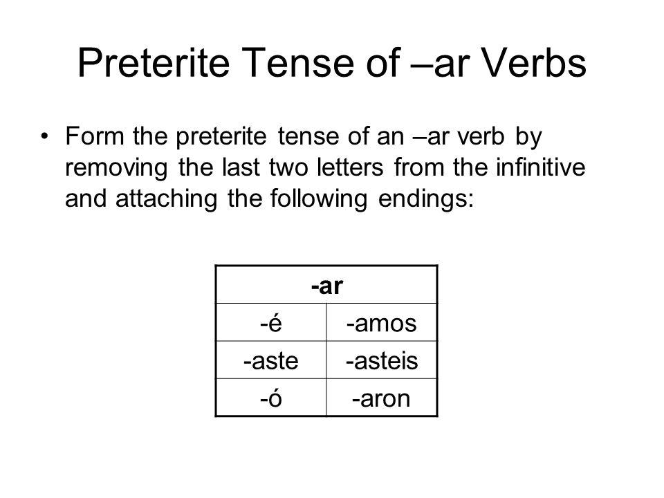 Preterite Tense of –ar Verbs