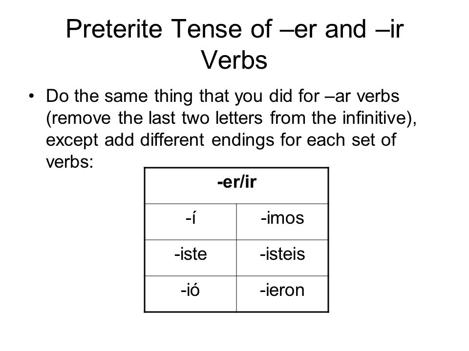 Preterite Tense of –er and –ir Verbs