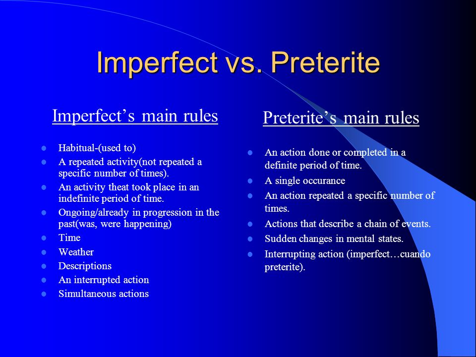 Imperfect vs. Preterite