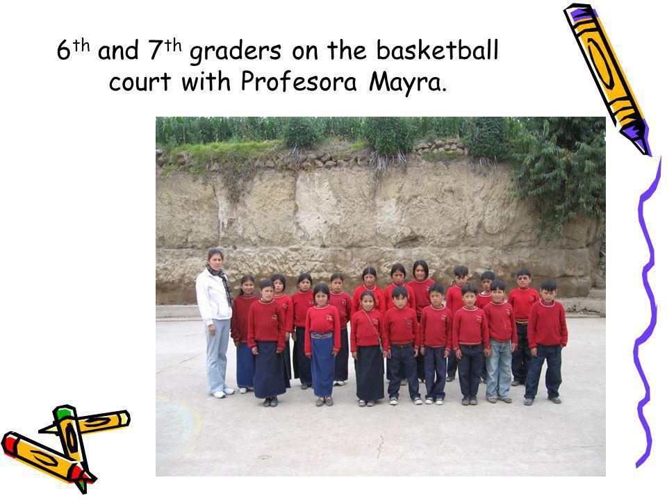 6th and 7th graders on the basketball court with Profesora Mayra.