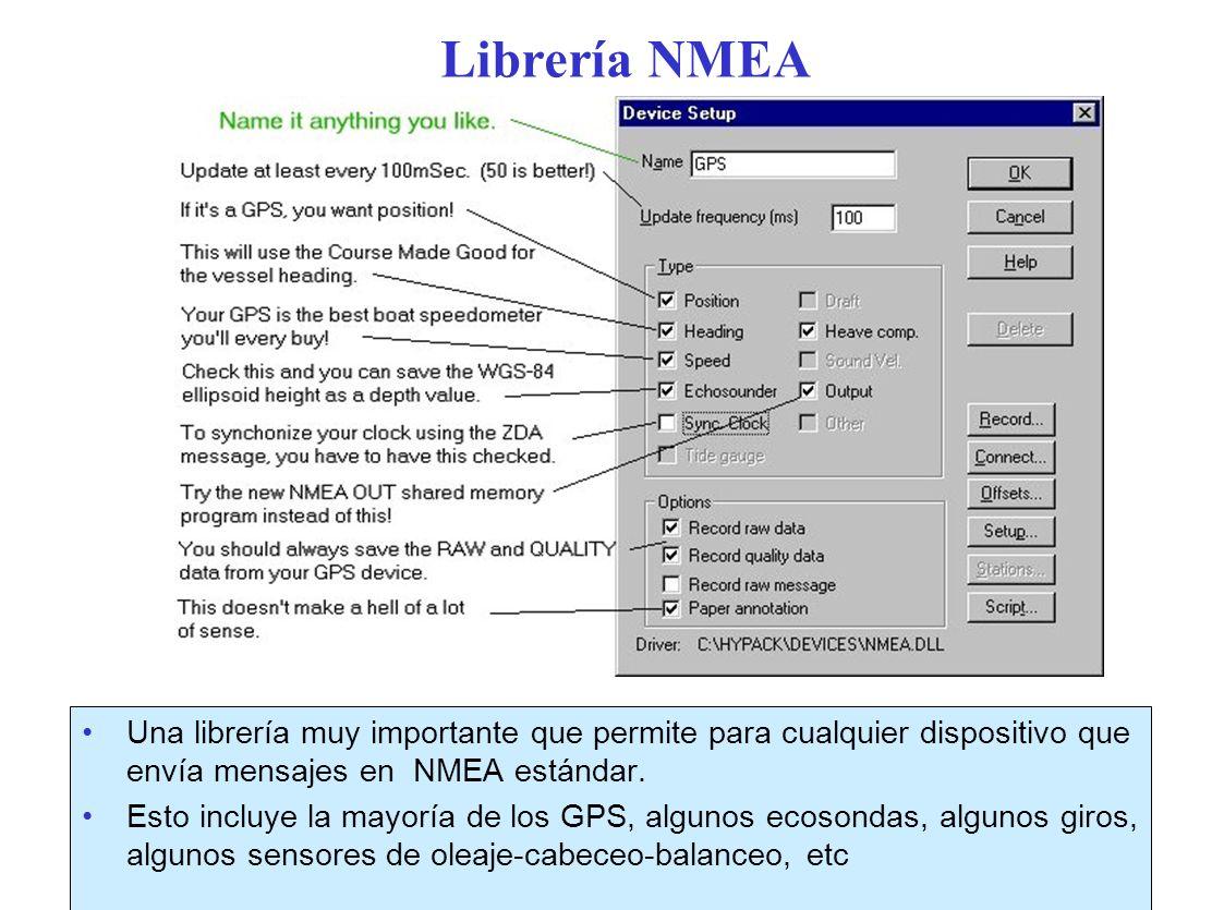 Librería NMEA Una librería muy importante que permite para cualquier dispositivo que envía mensajes en NMEA estándar.