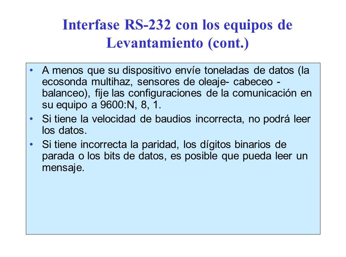 Interfase RS-232 con los equipos de Levantamiento (cont.)
