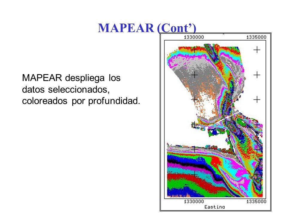 MAPEAR (Cont') MAPEAR despliega los datos seleccionados, coloreados por profundidad.