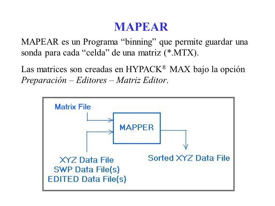 MAPEAR MAPEAR es un Programa binning que permite guardar una sonda para cada celda de una matriz (*.MTX).