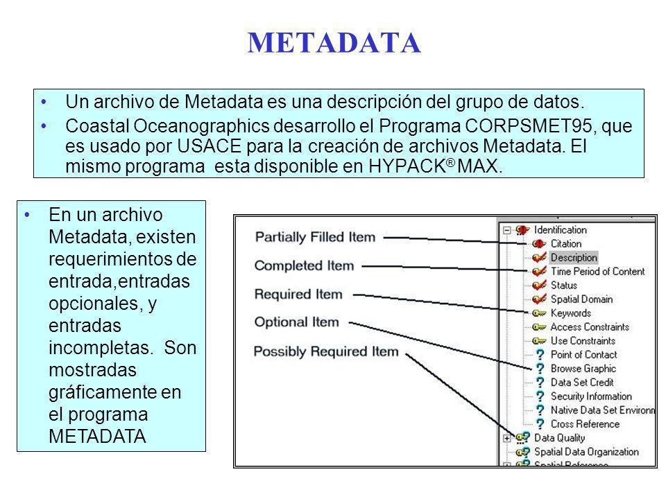METADATA Un archivo de Metadata es una descripción del grupo de datos.