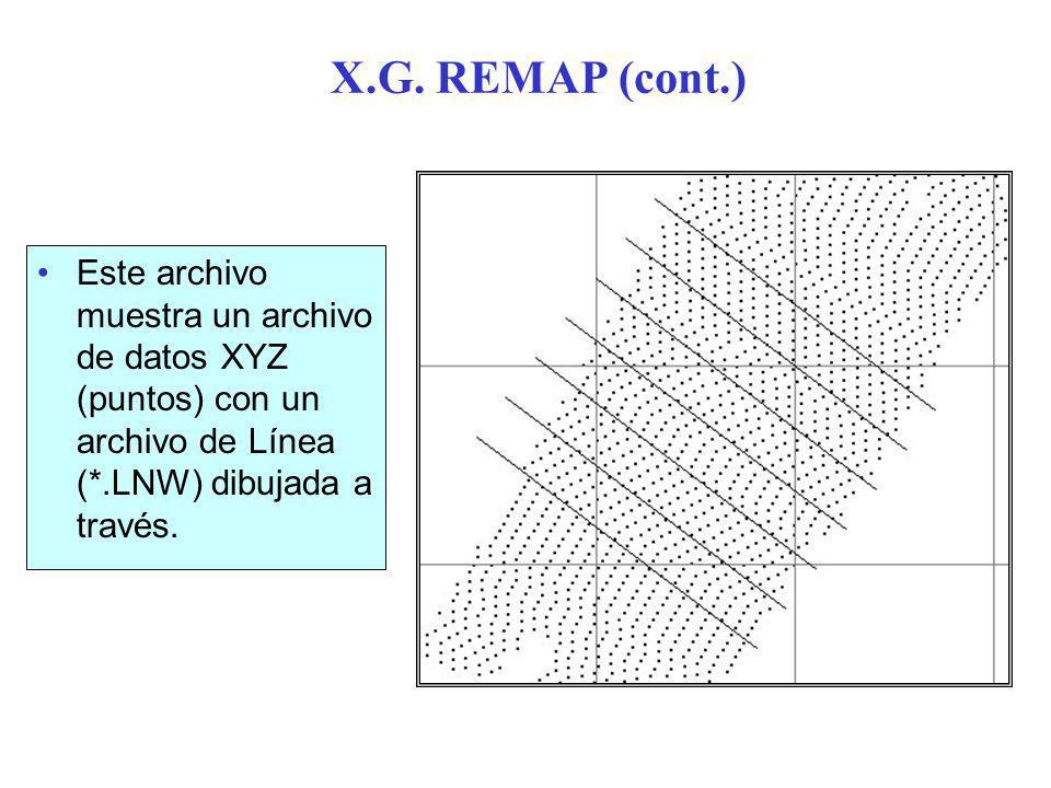 X.G. REMAP (cont.) Este archivo muestra un archivo de datos XYZ (puntos) con un archivo de Línea (*.LNW) dibujada a través.