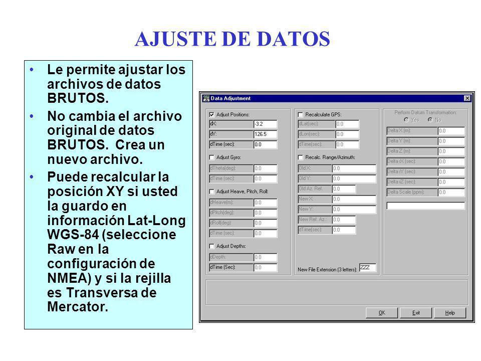 AJUSTE DE DATOS Le permite ajustar los archivos de datos BRUTOS.