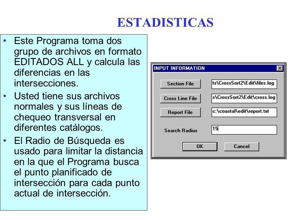 ESTADISTICAS Este Programa toma dos grupo de archivos en formato EDITADOS ALL y calcula las diferencias en las intersecciones.
