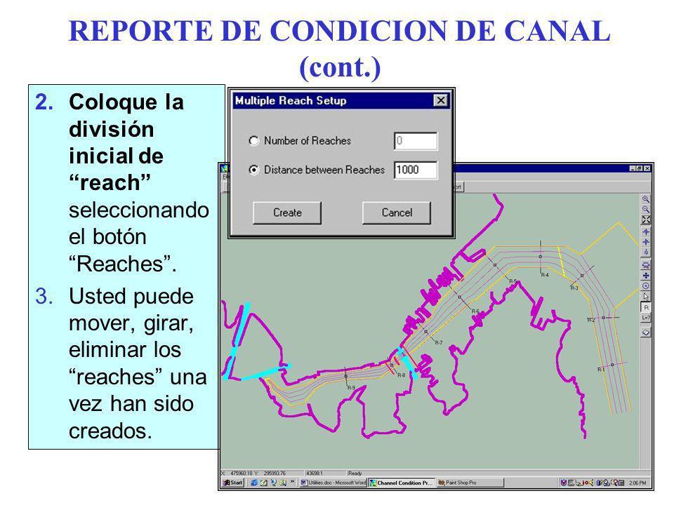 REPORTE DE CONDICION DE CANAL (cont.)