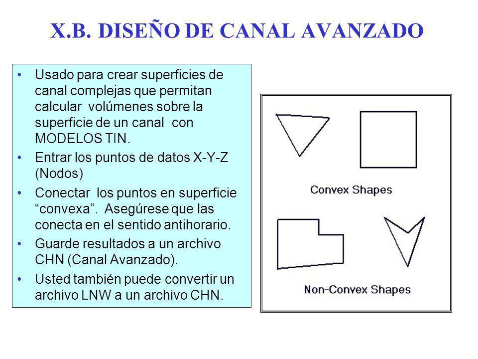 X.B. DISEÑO DE CANAL AVANZADO