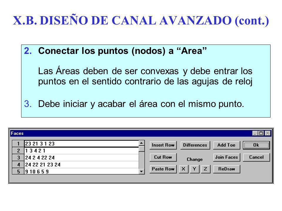 X.B. DISEÑO DE CANAL AVANZADO (cont.)