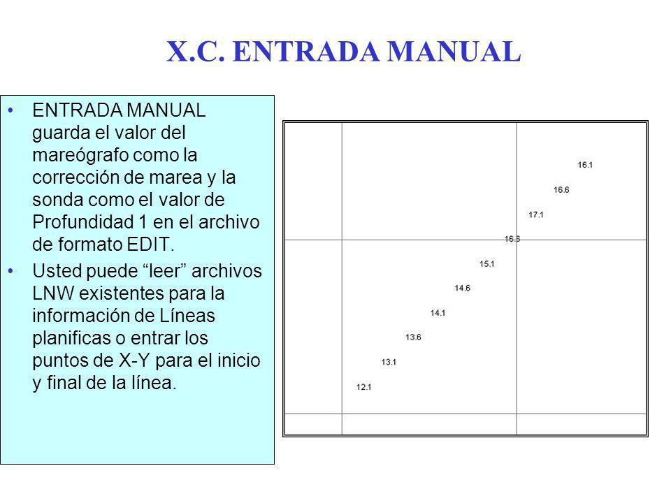 X.C. ENTRADA MANUAL