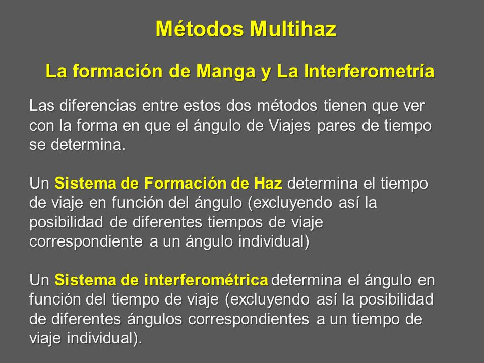 Métodos Multihaz La formación de Manga y La Interferometría