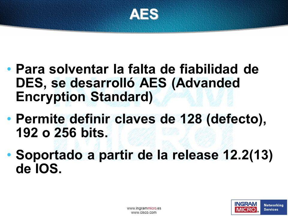 AESPara solventar la falta de fiabilidad de DES, se desarrolló AES (Advanded Encryption Standard)