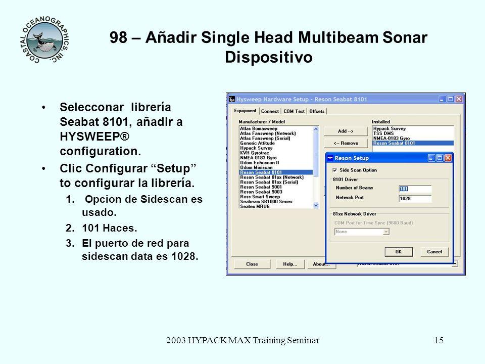 98 – Añadir Single Head Multibeam Sonar Dispositivo