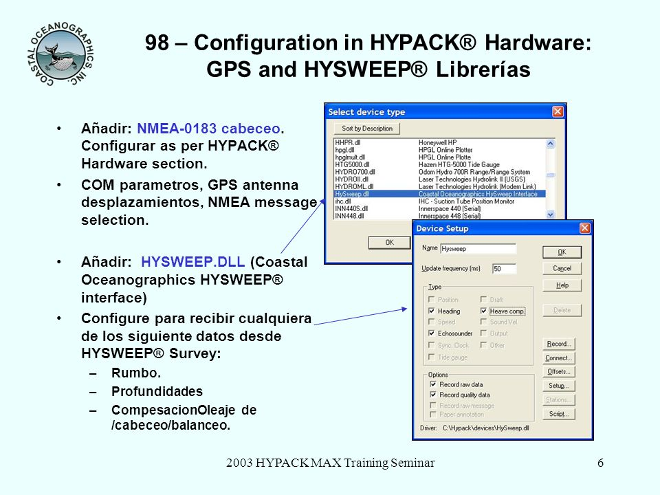 98 – Configuration in HYPACK® Hardware: GPS and HYSWEEP® Librerías