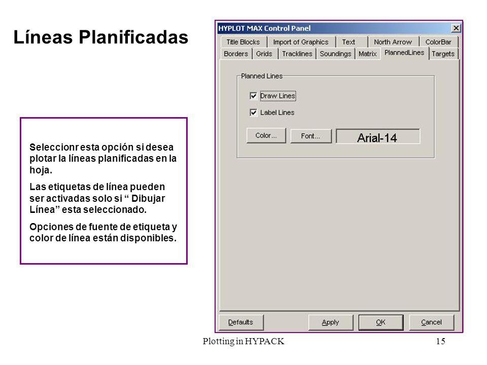 Líneas PlanificadasSeleccionr esta opción si desea plotar la líneas planificadas en la hoja.