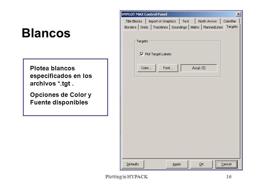 Blancos Plotea blancos especificados en los archivos *.tgt .