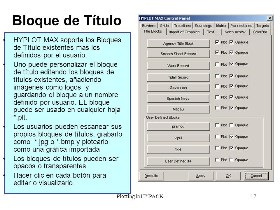 Bloque de TítuloHYPLOT MAX soporta los Bloques de Título existentes mas los definidos por el usuario.