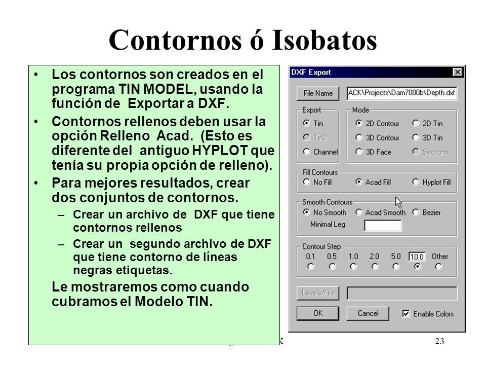 Contornos ó Isobatos Los contornos son creados en el programa TIN MODEL, usando la función de Exportar a DXF.