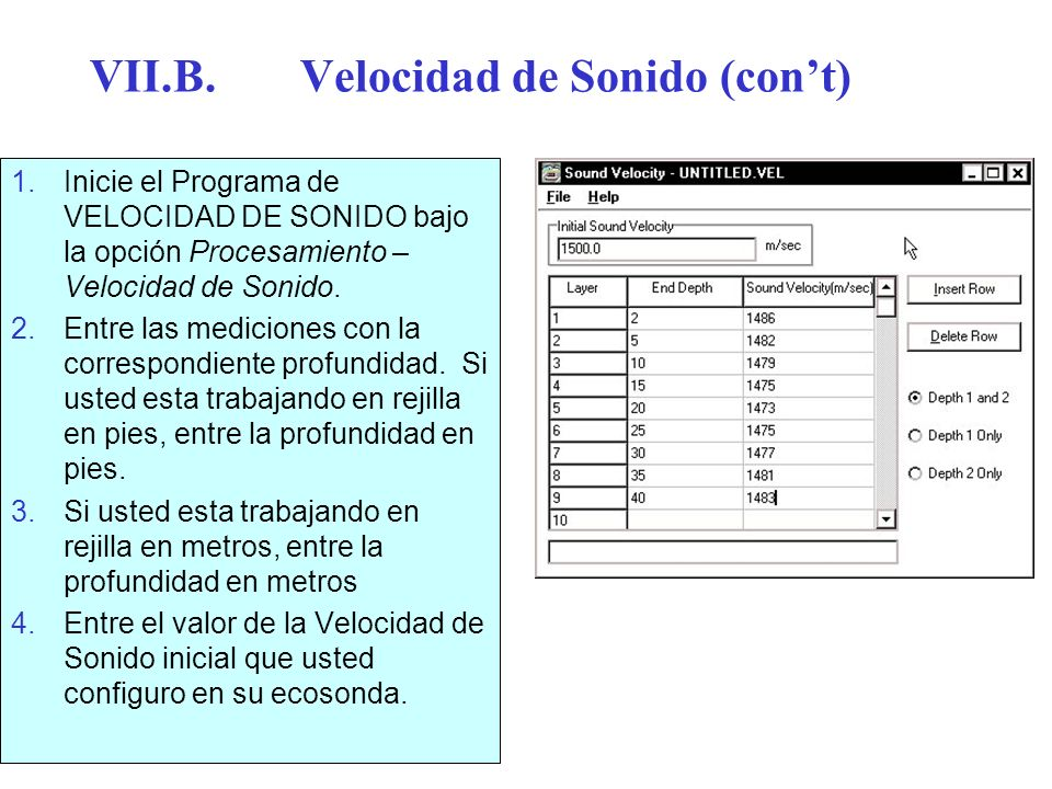 VII.B. Velocidad de Sonido (con't)