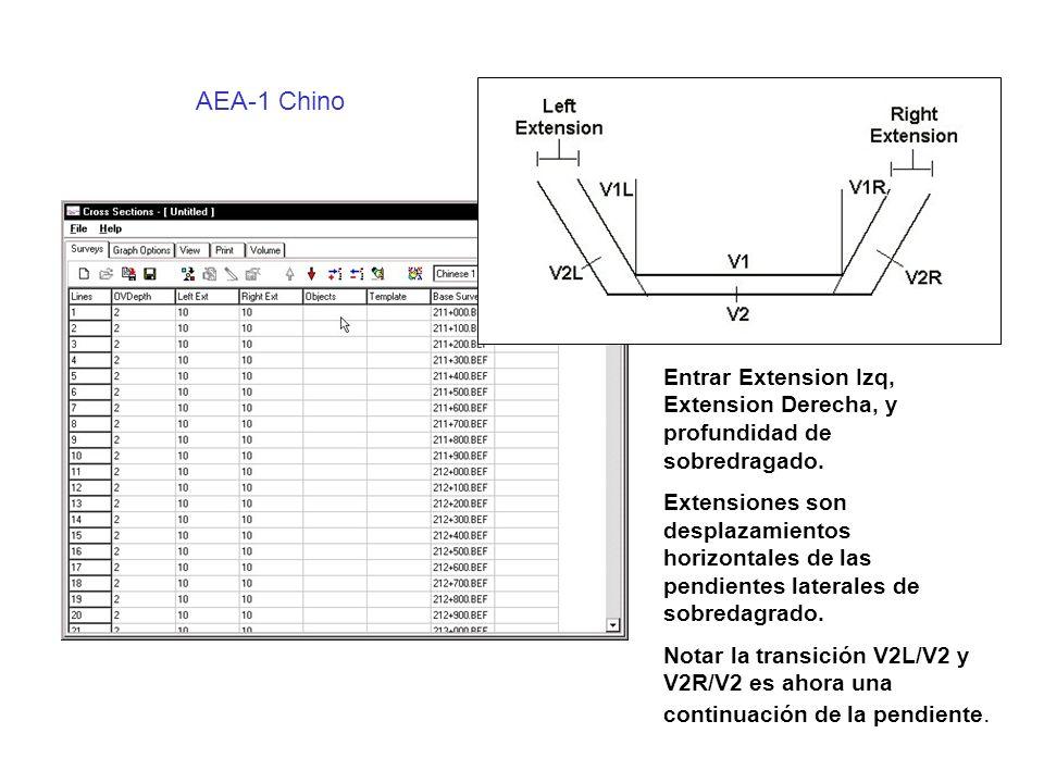AEA-1 Chino Entrar Extension Izq, Extension Derecha, y profundidad de sobredragado.