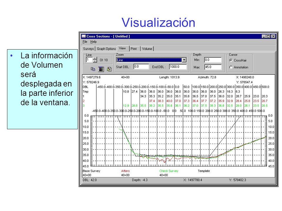 Visualización La información de Volumen será desplegada en la parte inferior de la ventana.
