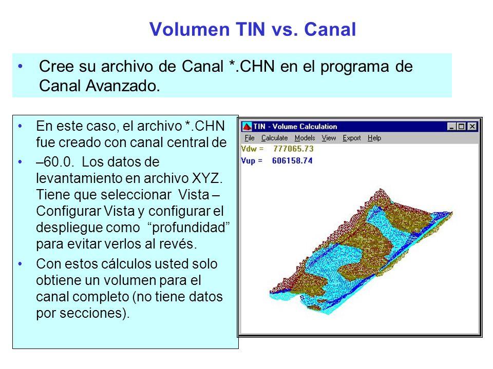Volumen TIN vs. Canal Cree su archivo de Canal *.CHN en el programa de Canal Avanzado.