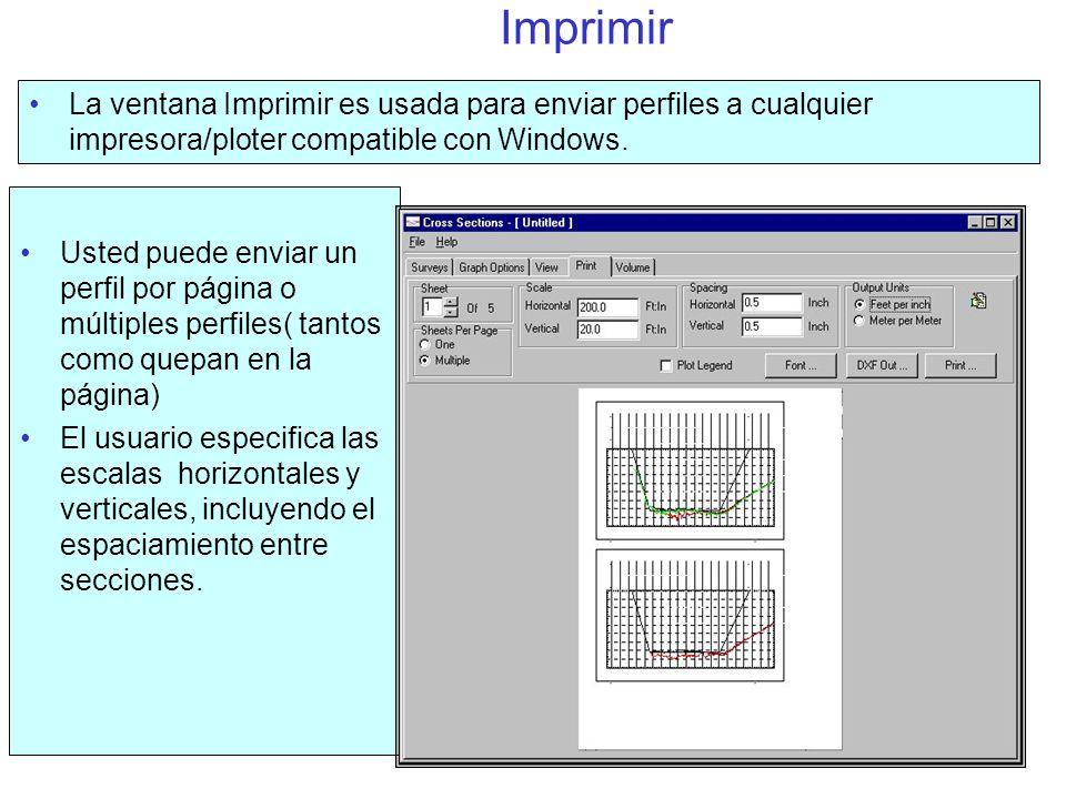 Imprimir La ventana Imprimir es usada para enviar perfiles a cualquier impresora/ploter compatible con Windows.