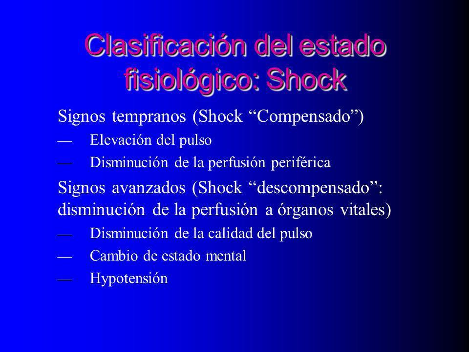 Clasificación del estado fisiológico: Shock