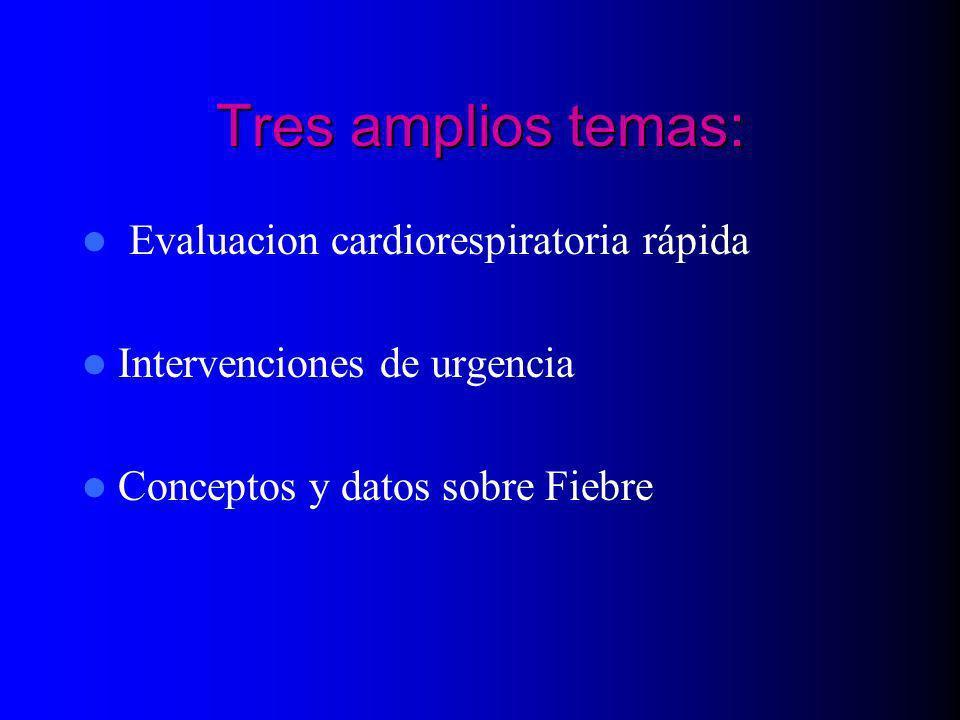 Tres amplios temas: Evaluacion cardiorespiratoria rápida