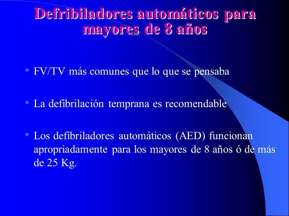 Defribiladores automáticos para mayores de 8 años