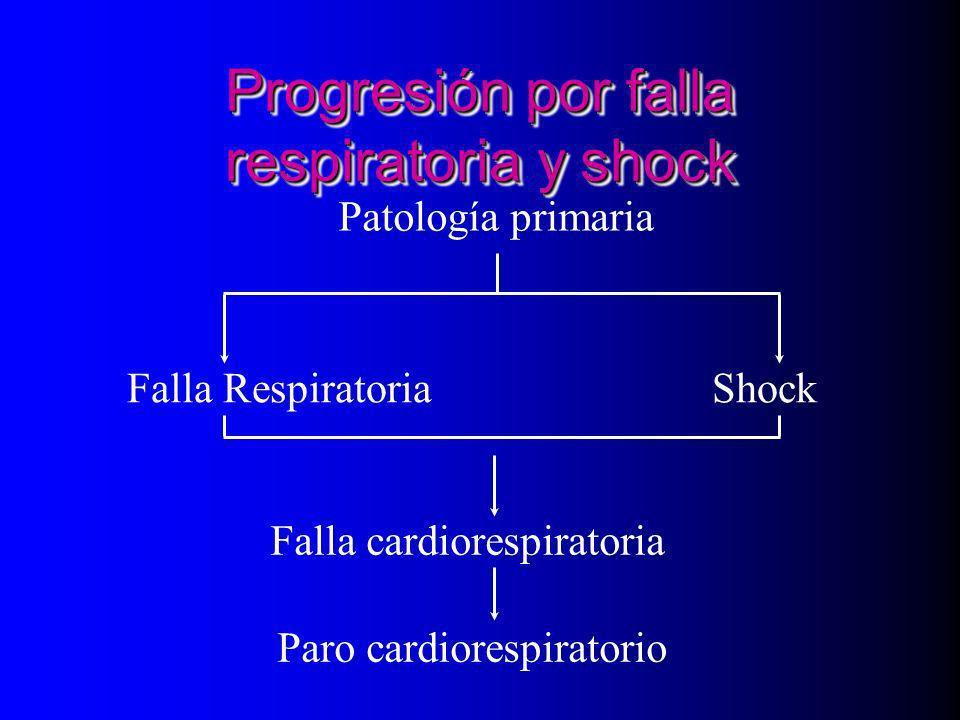 Progresión por falla respiratoria y shock