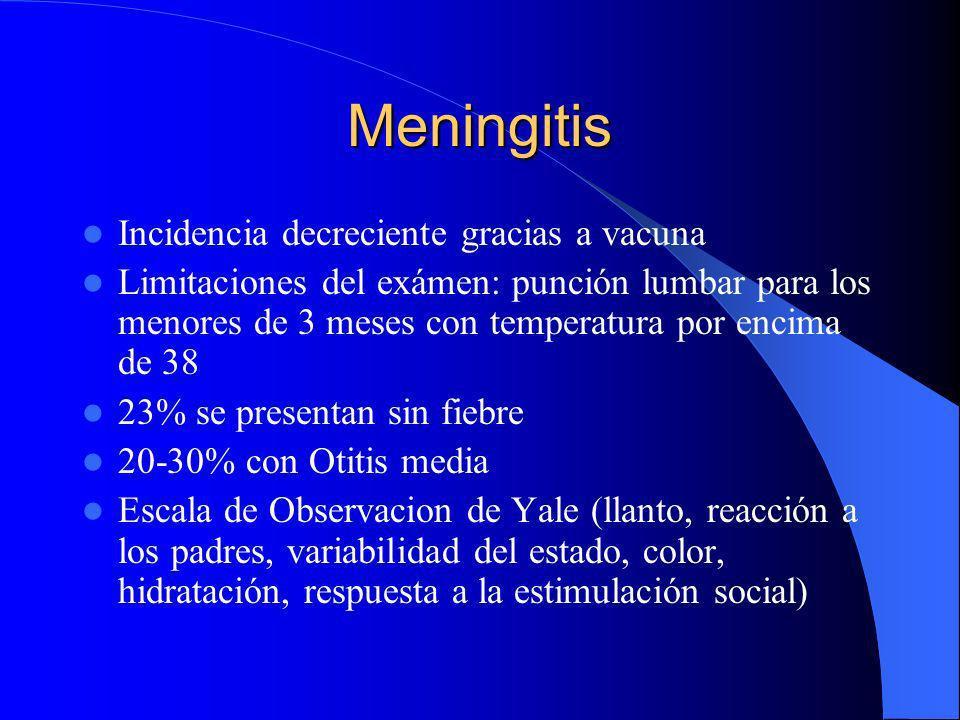 Meningitis Incidencia decreciente gracias a vacuna