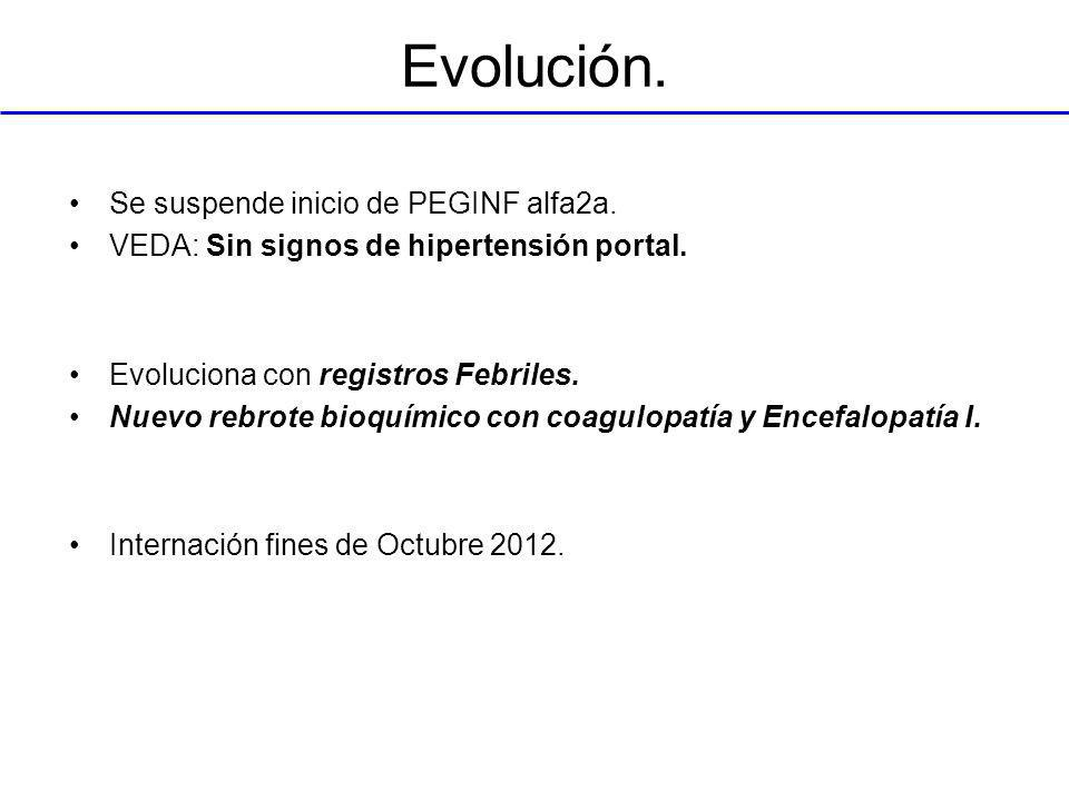 Evolución. Se suspende inicio de PEGINF alfa2a.