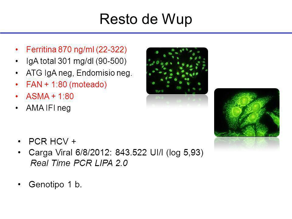 Resto de Wup PCR HCV + Carga Viral 6/8/2012: 843.522 UI/l (log 5,93)