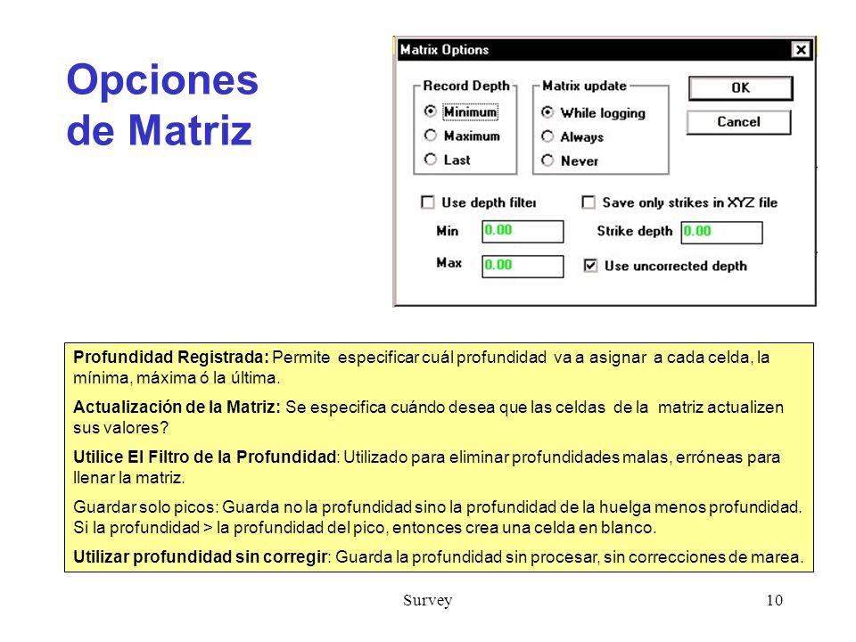 Opciones de Matriz Profundidad Registrada: Permite especificar cuál profundidad va a asignar a cada celda, la mínima, máxima ó la última.