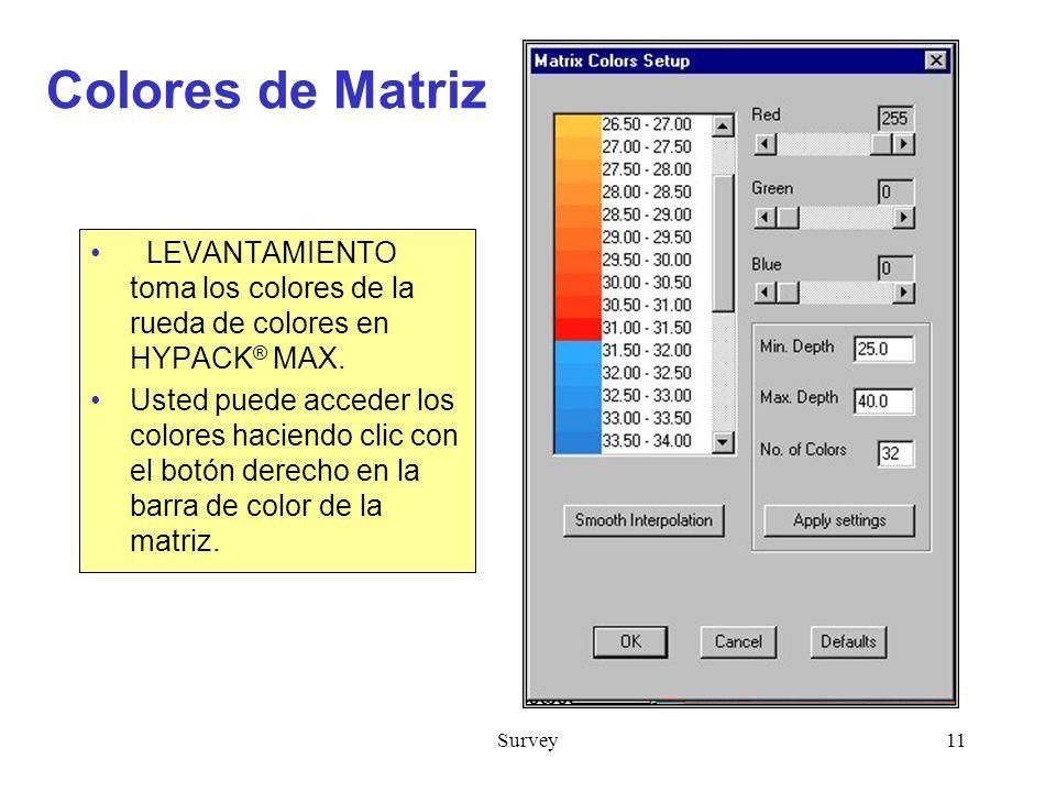 Colores de Matriz LEVANTAMIENTO toma los colores de la rueda de colores en HYPACK® MAX.