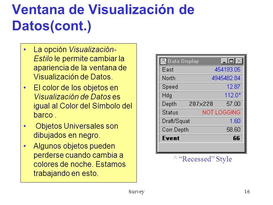 Ventana de Visualización de Datos(cont.)